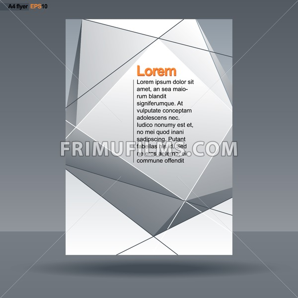 Abstract Print A4 Design With Silver Triangles And Lines For Flyers