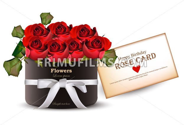 Red Roses Flowers Bouquet Card Vector Realistic Beautiful Floral Background