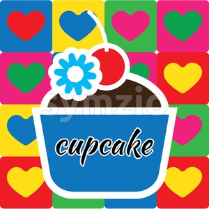 Candy card with big fruit cream cakes with chocolate and cherry with candy on top, over colore background with hearts and cupcake text. Blue, yellow, Stock Vector