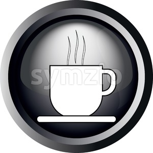 Card with a cup of coffee with steam, in round frame in 3d over a white background, in black and white outline style. Digital vector image. Stock Vector