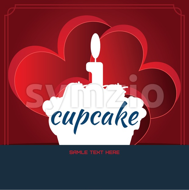 Card with a cake with burning candle on top, in round over a red background with hearts, with sample text. Digital vector image. Stock Vector