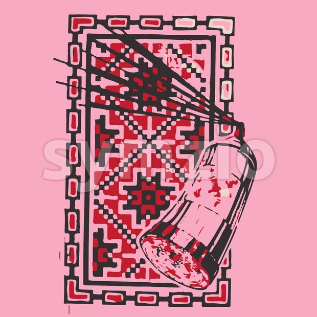 Abstract spray painting red picture in square frame. In outline style over pink background. Digital vector image Stock Vector