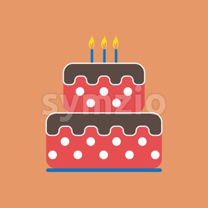 Candy card with a big chocolate cream cake with dots, burning candles on top, over peach background. Digital vector image. Stock Vector