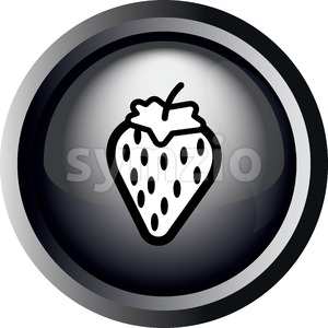Card with a strawberry with seeds, in round frame in 3d over a white background, in black and white outline style. Digital vector image. Stock Vector