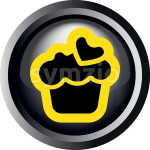 Card with a cream cake with heart on top, in round frame in 3d over a white background, in black and yellow outline style. Digital vector image. Stock Vector
