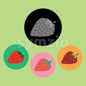 Strawberries with seeds set, in outline, over light green background. Pink, green, orange and black. Digital vector image. Stock Vector