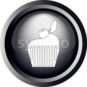 Card with a cake with cherry on top, in round frame in 3d over a white background, in black and white outline style. Digital vector image. Stock Vector
