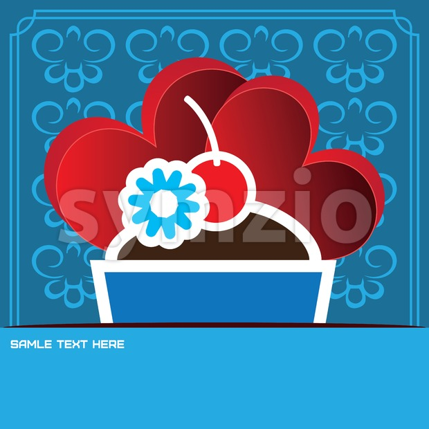 Candy card with a big chocolate cream cake, over blue background with hearts and floral frames in outline style. Sample text. Digital vector image. Stock Vector