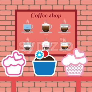 Set of cakes and coffee shop items with americano, latte, cappucino, flat white and irish, over pink background with bricks. Digital vector image Stock Vector
