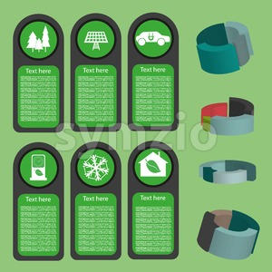 Ecological business green infographic with icons and 3d charts, flat design. Digital vector image Stock Vector