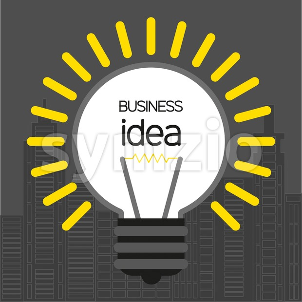 Business idea design with bulb and city buildings icons, flat design. Digital vector image Stock Vector