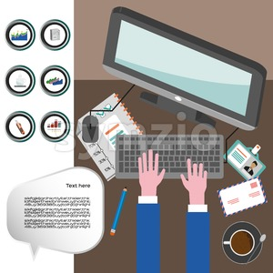 Business infographic with icons, computer and typing keyboard, flat design. Digital vector image Stock Vector