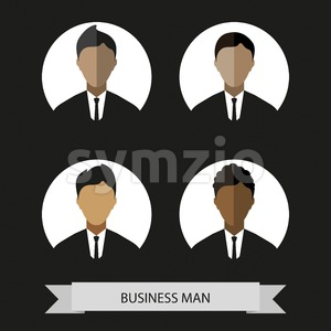 Businessman profiles icons, flat style. Digital vector image Stock Vector