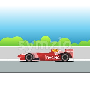 Racing bolide car on a racing track. Red single-seat auto racing. Racing track with green trees. Digital vector illustration. Stock Vector