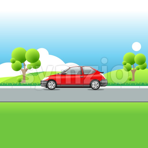 Red car on a country road. Green meadows hills and trees. Blue sky with clouds. Sunny day landscape view. Digital vector illustration. Stock Vector