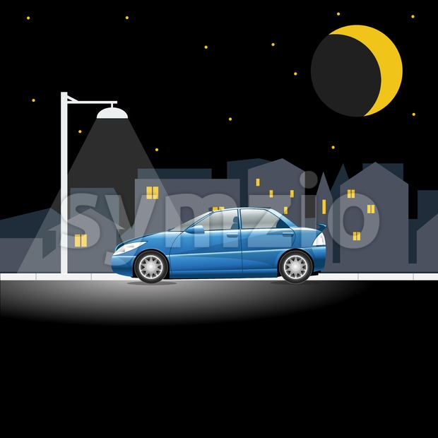 Lonely blue colored car on an empty night street. Lamppost shining in the night above a vehicle on a city street. Digital vector illustration. Stock Vector
