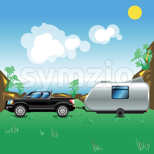 Camping pickup trailer on a meadow near a sea. Some hills with trees growing on. Summer sunny sky with white clouds. Beautiful seascape illustration. Stock Vector
