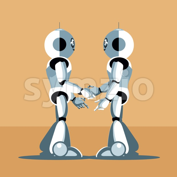 Two silver humanoid robots shaking hands. Digital background vector illustration. Stock Vector