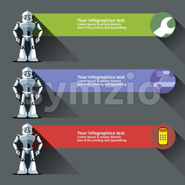 Three silver humanoid robots presenting info graphics with tools, cars and calculators. Digital background vector illustration. Stock Vector