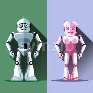 Two silver and pink humanoid robots, male and female. Digital background vector illustration Stock Vector