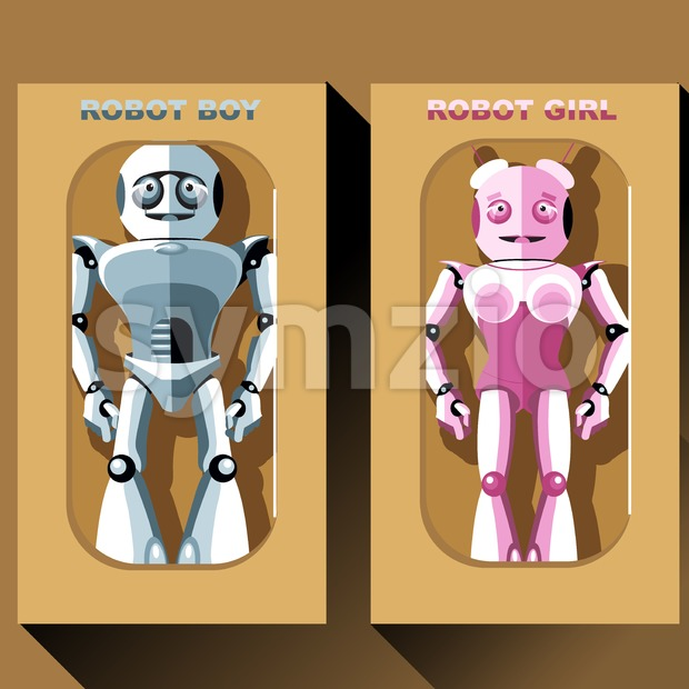 Two silver and pink humanoid robots in boxes, male and female. Digital background vector illustration Stock Vector