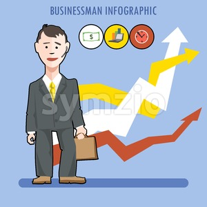Business man presenting an infographic Stock Vector