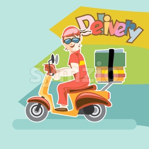 Delivery girl driving a scooter Stock Vector