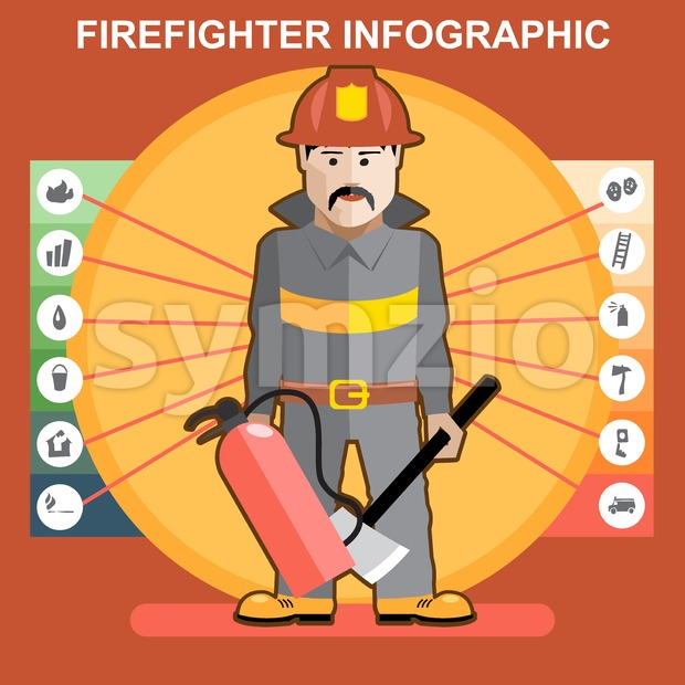 Fire fighter in fire suit man presenting an infographics Stock Vector