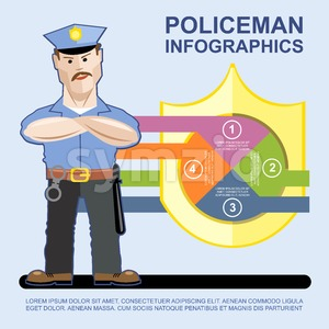 A policeman at work presenting infographics Stock Vector