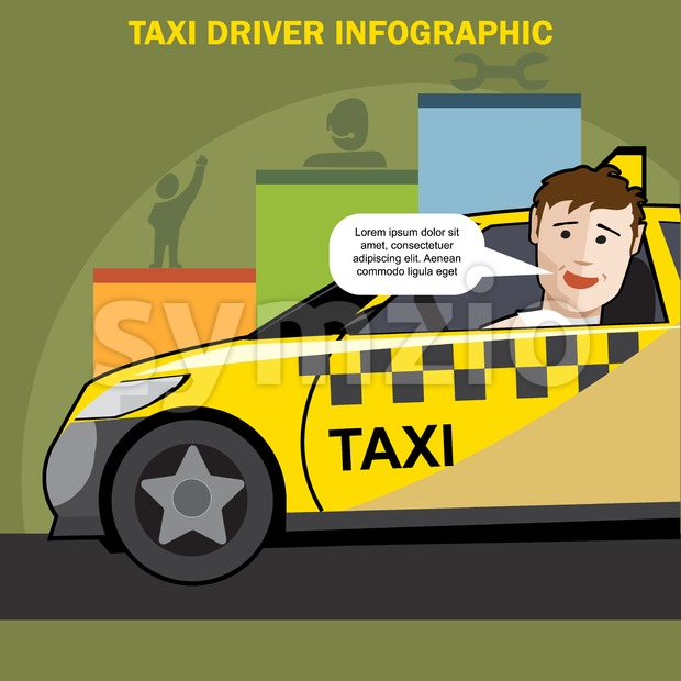 Public taxi cab driver presenting infographics Stock Vector