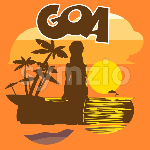 Goa beach flyer with a woman silhouette, palms and a dolphin at sunset, digital vector image Stock Vector