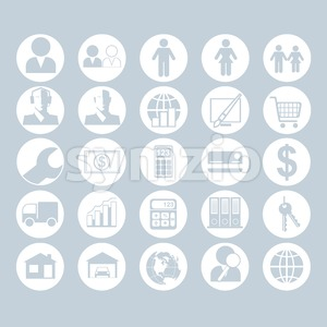 A set of people, business and construction icons on a white blue background, digital vector image Stock Vector