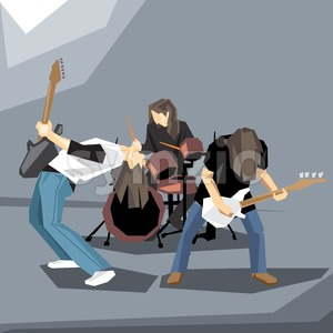 Rock music band performing on stage, with guitars and drums digital vector image Stock Vector