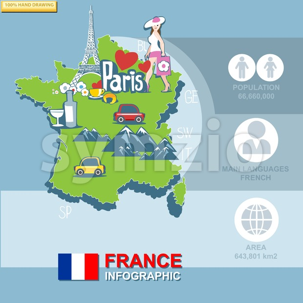 France, country infographic and statistical data with best sights, digital vector image Stock Vector