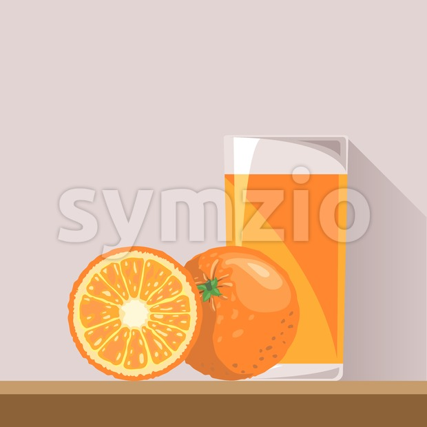 A full glass of orange juice with a whole orange and a half orange in section on a brown surface, digital vector image Stock Vector