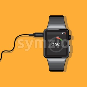 A black smart watch connected to a wire with battery status info icons on the display panel on an orange background, digital vector image Stock Vector