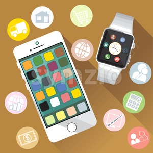 A white smart watch and mobile phone with time, calls, mail, contacts, battery and weather info icons on the display panel on a brown background, Stock Vector