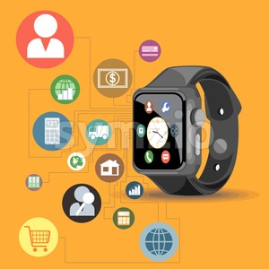A black smart watch with time, calls, mail, contacts, battery and weather info icons on the display panel on an orange background, digital vector Stock Vector
