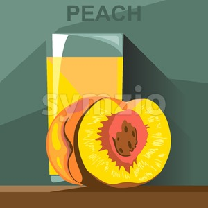 A glass of yellow peach juice and a half peach with kernel on a table, digital vector image. Stock Vector