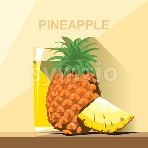A glass of yellow pineapple juice, a whole big ripe pineapple with green leaves and a slice of pineapple on a table, digital vector image. Stock Vector