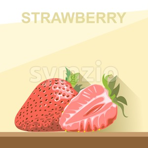 A whole big ripe strawberry with green leaves and a half strawberry on a table, digital vector image. Stock Vector