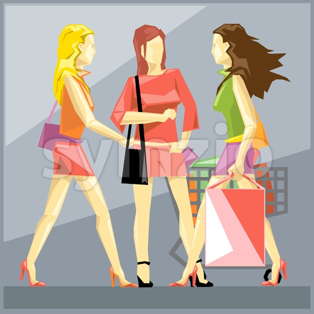 Shopping ladies in red dresses and red and black shoes, on a silver sliced background, in big pixel style with bags and basket, digital vector image Stock Vector