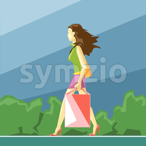 Shopping lady in green and pink clothes and red shoes, on a blue sliced background with trees, in big pixel style with bags, digital vector image Stock Vector