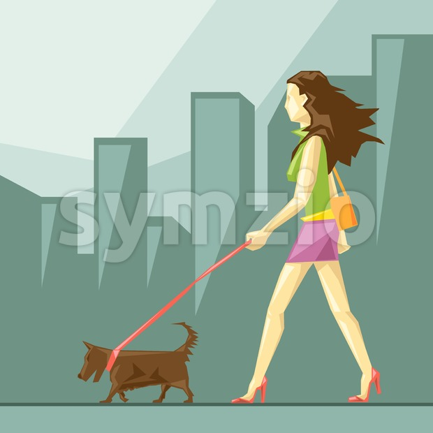 Lady in green and pink clothes and red shoes with brown dog walking on the street, on a blue sliced background with trees, in big pixel style with Stock Vector