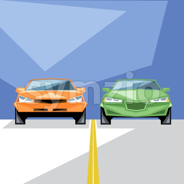An orange and green cars at start for a racing and an yellow line, front view, over blue background, digital vector image Stock Vector