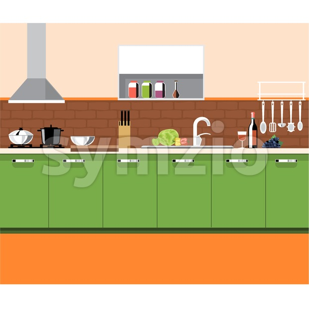 A kitchen plane with green furniture and brown bricks wall, with bottles, set of knives, wine, glasses, washstand and other accessories, digital Stock Vector