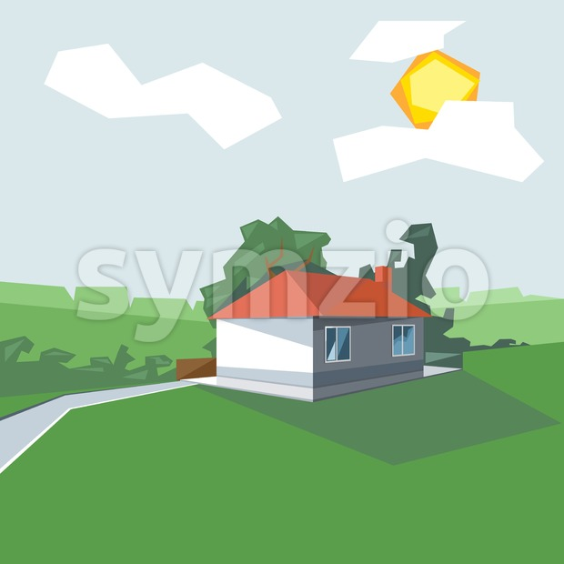 A house in 1 floor, view from perspective, with windows and the sun in the clouds, near green garden, digital vector image Stock Vector