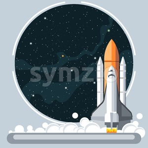 Shuttle at launch with fire and smoke and space view. Digital vector image. Stock Vector