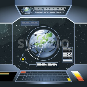 Spacecraft interior view and window to space and planet. Board with computers and screen with info analysis of the planet. Digital vector image. Stock Vector