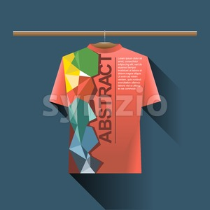 Abstract red shirt with colored logo with triangles and text on a hanger in wardrobe over dark blue background. Digital vector image Stock Vector
